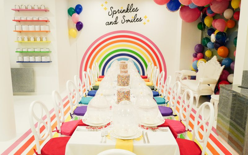 A colorful table set for a party at the Flour Shop store front during the grand opening of the New York store.
