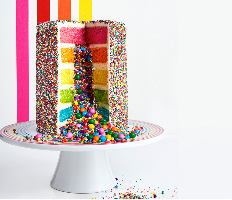 Decorative Image of Rainbow Explosion cake cut open
